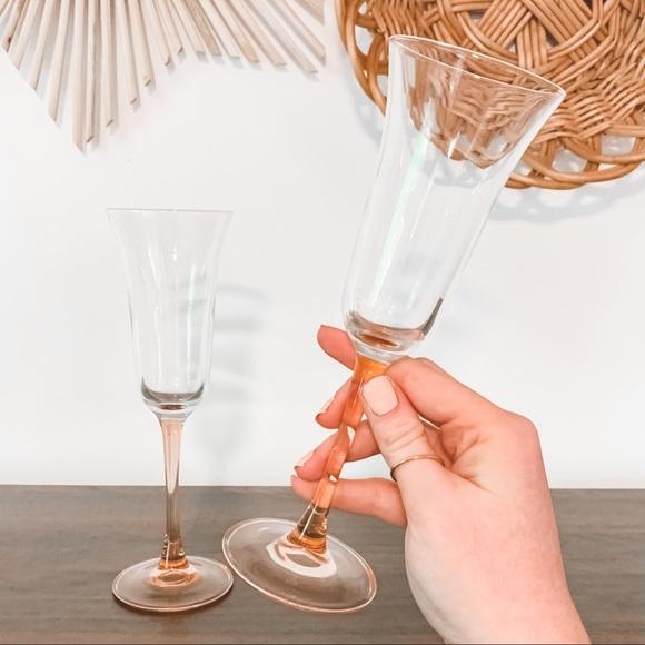 Vintage Pink Depression Glass Champagne Flutes